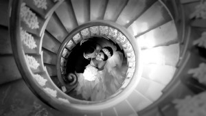 Keilor Mansion Staircase Melbourne Wedding Videography and Photography black and white