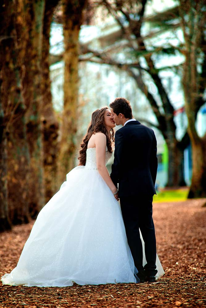 Bride and Groom kissing at Fitzroy gardens Melbourne Wedding Videography and Photography