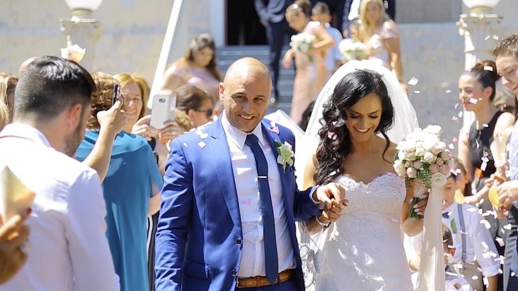 Church Wedding Departure with confetti
