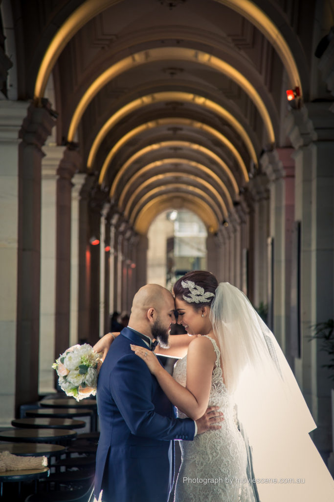 Movie Scene Wedding Photo at Melbourne City Locations GPO Melbourne Wedding Videography and Photography