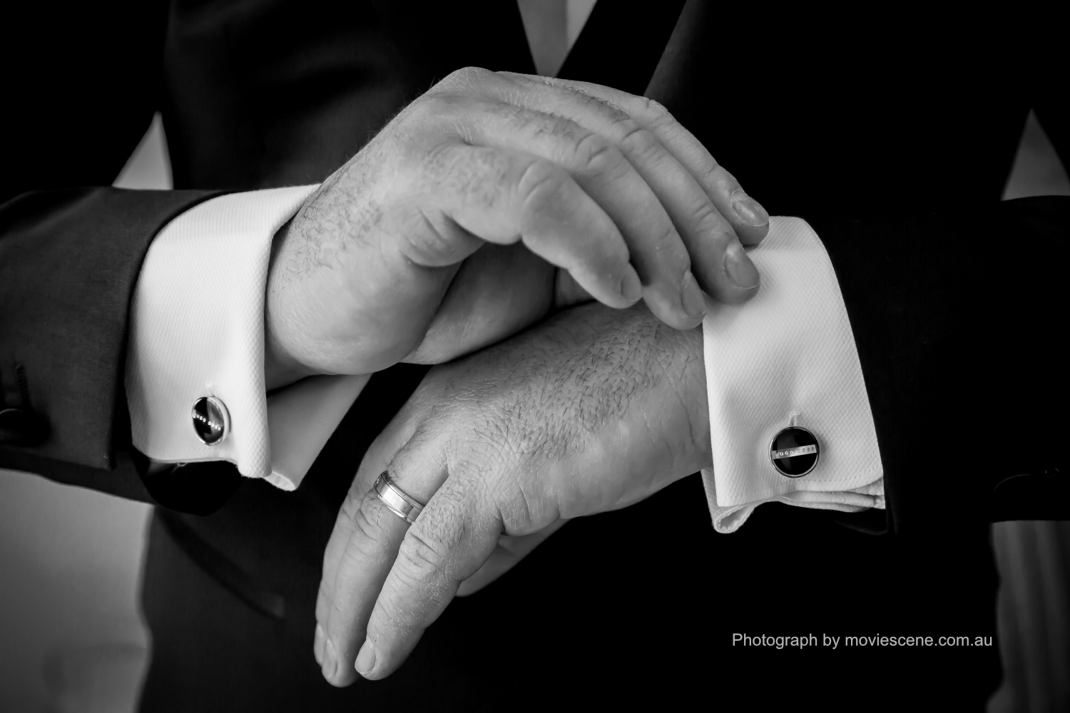 Movie Scene Wedding Photo of Grooms Cufflinks Melbourne Wedding Videography and Photography